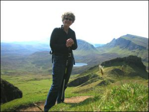 Margie Adam standing at The Quiraing, Isle of Skye