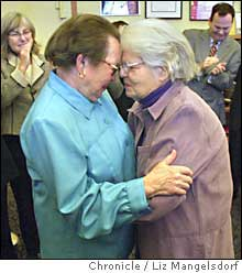 Del Martin and Phyllis Lyon being married on Feb.18th