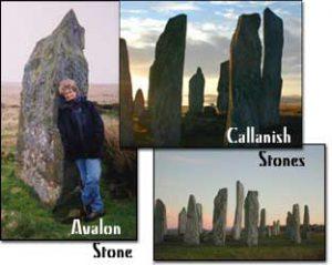 Margie Adam with Avalon stone, Gors Fawr moor, Callanish Stones