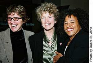 Margie Adam with Debra Walker (CA Democratic Party LGBT Chair) and Vicki Randle