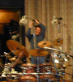 Stephen miking the drum