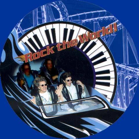 Margie Adam riding The Rockin' Roller Coaster.