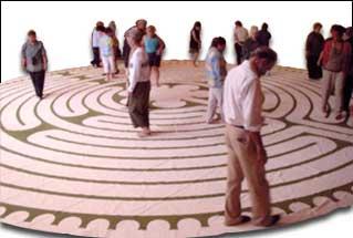 Walking a canvas labyrinth at North Berkeley Senior Center